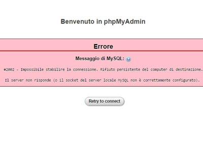 Soluzione errore #2002 MySQL su Wamp Server